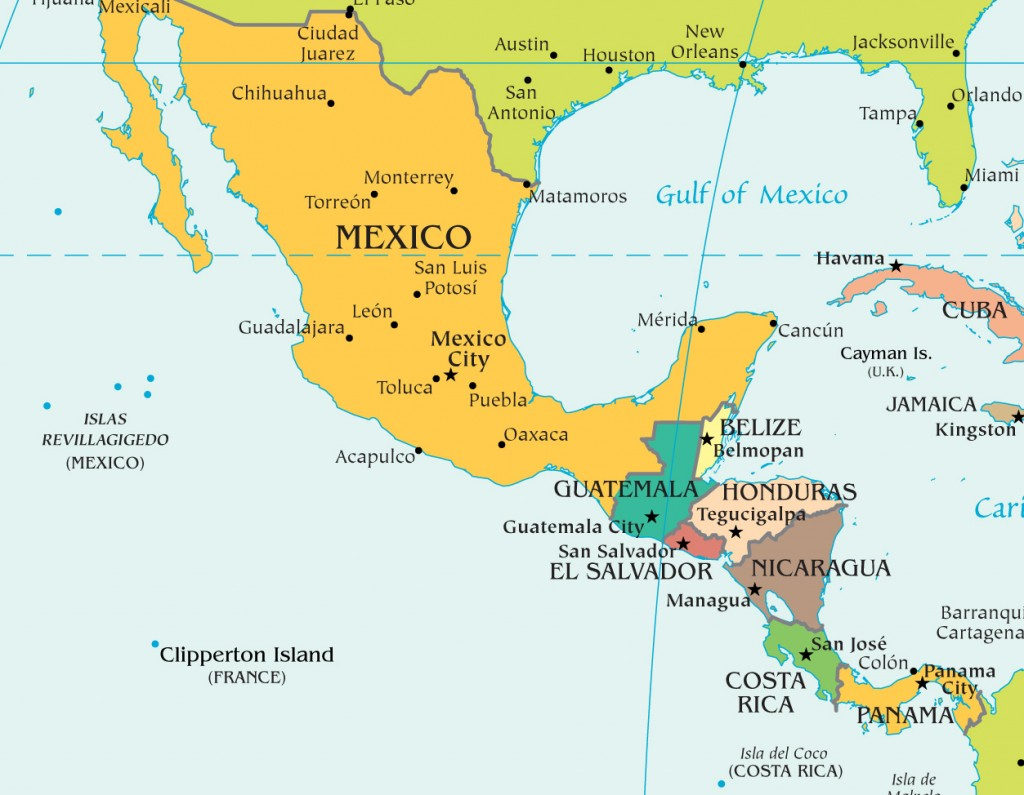 a map of Central America, Mexico, and the Southern US, a good representation of the path child migrants take