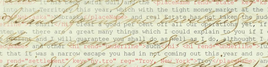 Image shows a hand-written manuscript with digital markup superimposed.